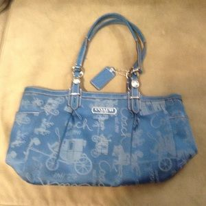 Coach Blue Horse and Carriage Tote